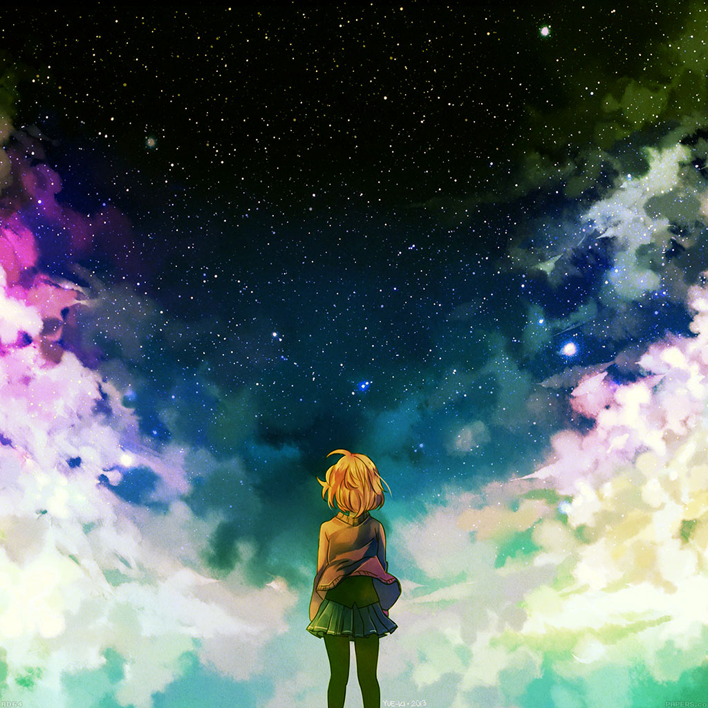 wallpaper-ad64-starry-night-illust-anime-girl-wallpaper