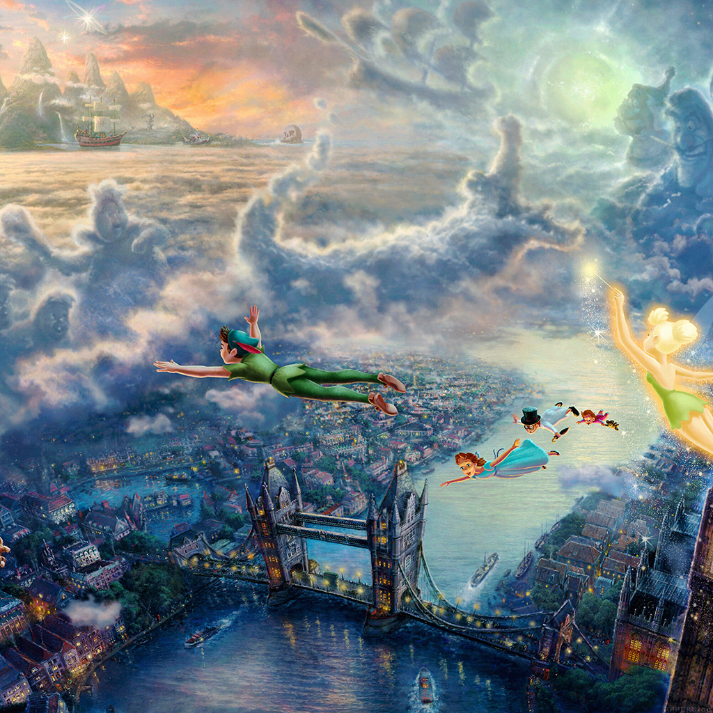 wallpaper-ah26-peterpan-illust-art-thomas-kinkade-wallpaper