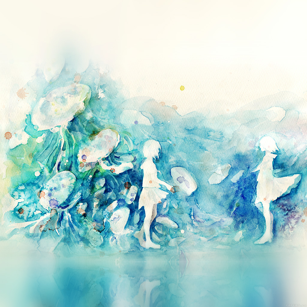 wallpaper-ai06-watercolor-blue-girl-nature-art-illust-wallpaper
