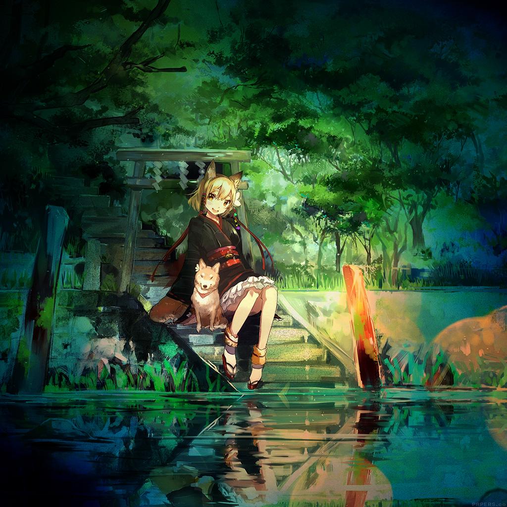 wallpaper-aj47-girl-and-dog-green-nature-anime-art-illust-wallpaper
