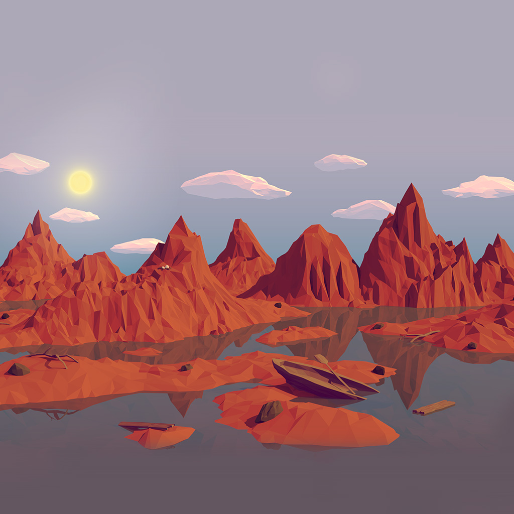 wallpaper-am37-low-poly-art-mountain-red-illust-art-wallpaper