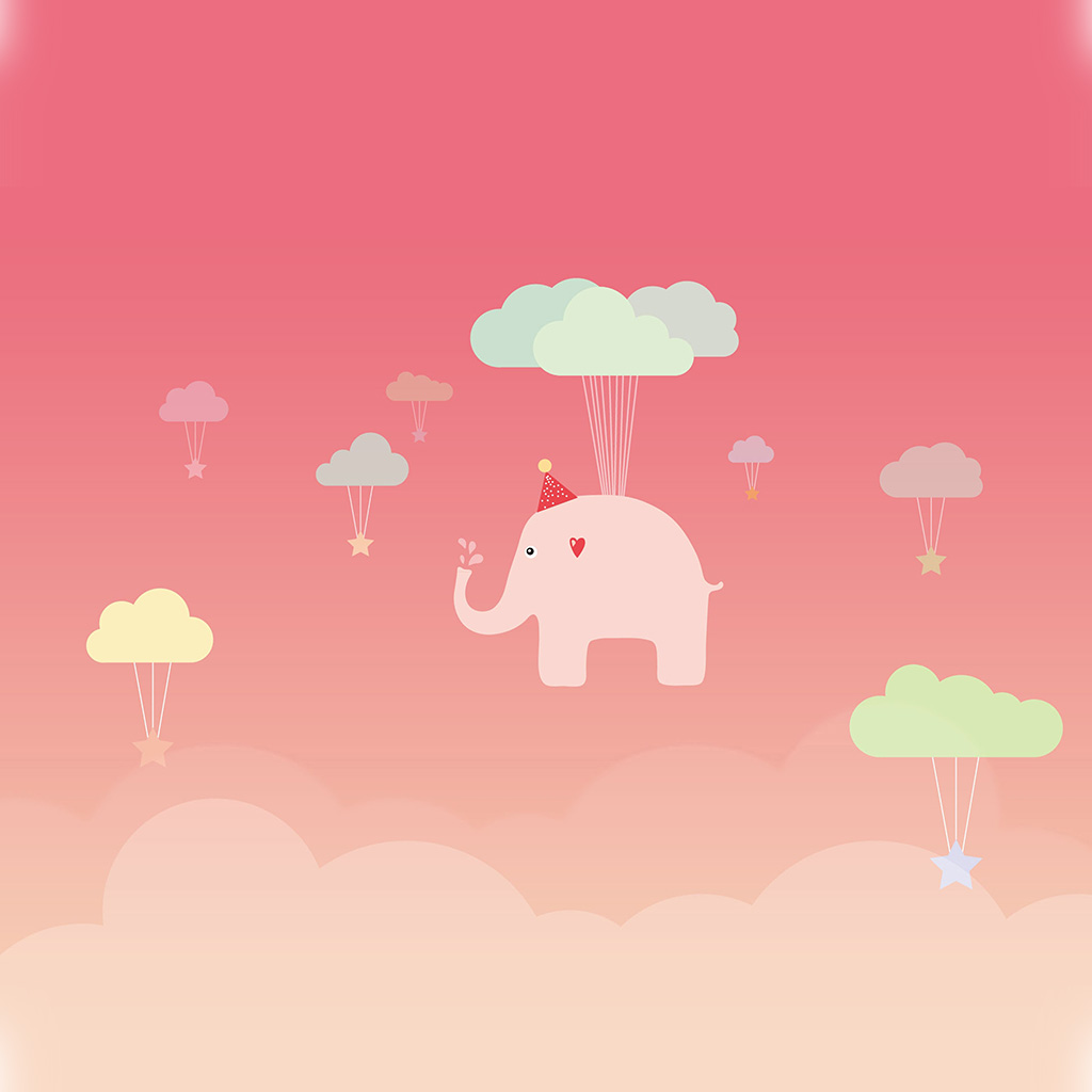 wallpaper-ap44-cute-elephant-illustration-art-pink-fly-wallpaper