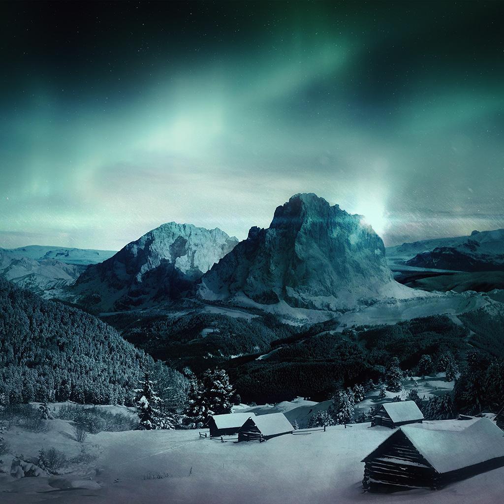 wallpaper-my98-night-sky-mountain-snow-winter-aurora-wallpaper