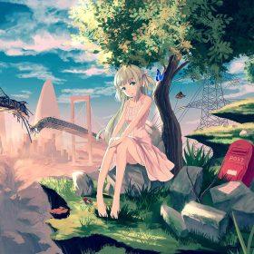 au48-cute-anime-girl-sunset-illustration-art