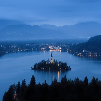 Lake Bled in twilight